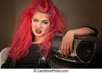 Moody Teen with Pink Hair - Moody teenage European female...