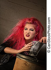 Sneering Girl by Radio - Sneering female heavy metal fan...