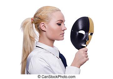 mujer, máscara, hipocrecia, concepto
