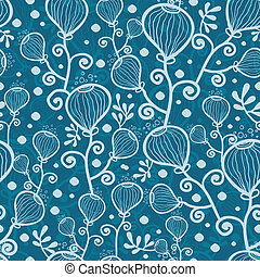 Blue underwater abstract plants seamless pattern background