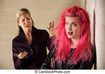 Bickering Family - Angry mother with teenage daughter in...