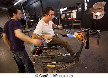 Glass Workers Using Blowtorch