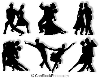Dancing silhouettes - Couples dancing in different poses and...