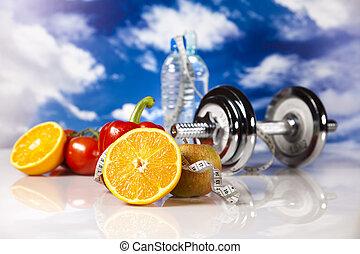 Sport, diet and fitness - Dumbbells,measure tape, fresh...