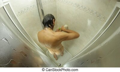 shower - fish eye view of a man in shower