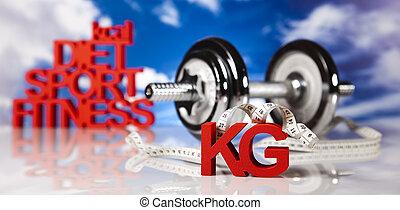 Weight loss, fitnes - Dumbbells,measure tape