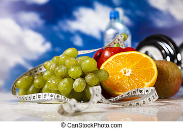 Weight loss, fitnes - Dumbbells,measure tape, fresh fruits...