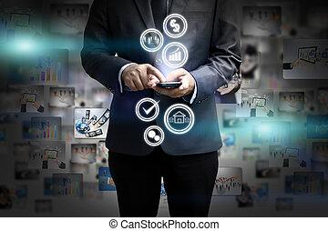 begrepp,  media,  social,  hand, holdingen,  digital, värld