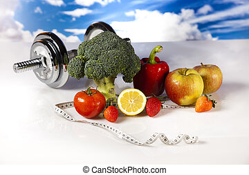 Vegetable and fruits, fitness - Dumbbells, fresh fruits,...