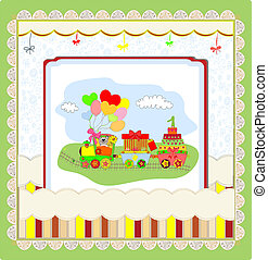 Cute card on birthday with colorful