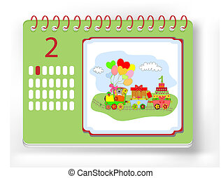 Wall calendar with the designation birthday vector