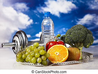 Fitness diet - Dumbbells, fresh fruits, vegetables and...