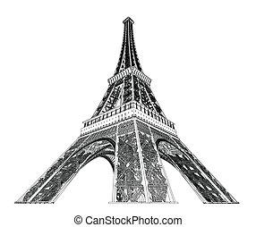 Eiffel, wieża, Wektor, Ilustracja