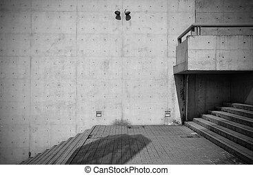 Bare concrete architecture with staircase