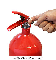 Hand pulling safety pin fire extinguisher isolated over...