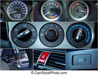Car interior details collage - Close up of Car interior...