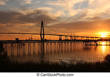 Bridge - Arther Ravenel Bridge over the Cooper River in...