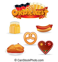 Oktoberfest Food and Drink Icons Vector Clip Art -...