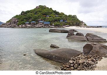Vista marina, nangyuan, isla, meridional, Tailandia