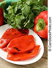 grilled red bell pepper on a plate