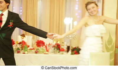 Just married couple is dancing at wedding party - In love...