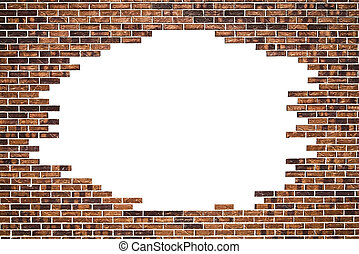 Brick wall (frame) and white background - Brick wall (frame)...