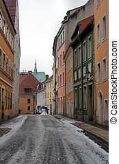 Narrow street in the old town of Goerlitz in Saxony,...