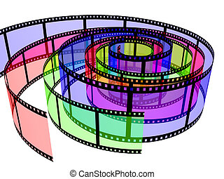 Three colored filmstrips. Object over white