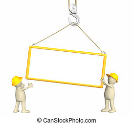 3d builders - Builders - puppets, lowering a frame on a hook