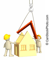 3d builders - Builders - puppets, lowering a roof on a hook