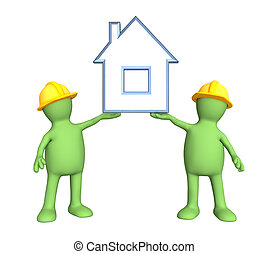 Two builders, holding in hands the stylized house