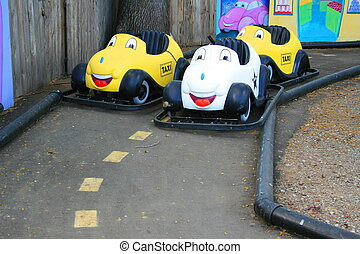 Bumper Cars - Close up of a group of colorful bumper cars.