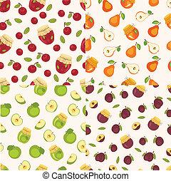 Set of fruit seamless patterns