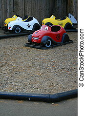 Bumper Cars - Close up of a group of colorful bumper cars