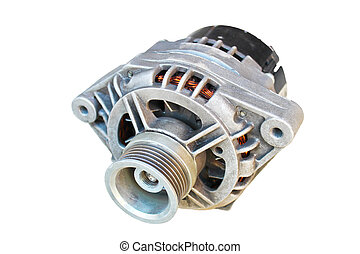 Automotive alternator isolated on a white background