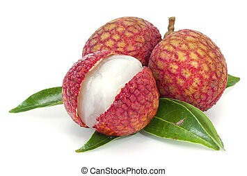 Fresh lychees isolated on white