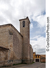 Romanesque church in toro - Street with houses located on...