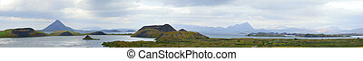 Myvatn. - Iceland summer landscape. Mountain lake Myvatn....
