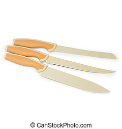 set beige of knives for kitchen isolated