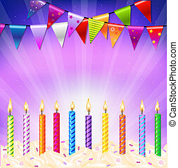 Happy Birthday Candles With Gradient Mesh, Vector...