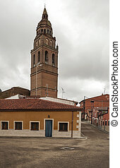 Street of Alaejos with Tower bell - Street with houses...
