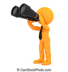 Cute orange character with binoculars Isolated on white...