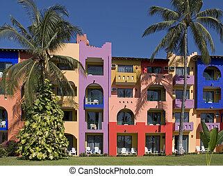 Colorful facade of a resort - Colorful facade of a tropical...