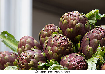 Artichokes at market - Artichokes for sale at farmers market...