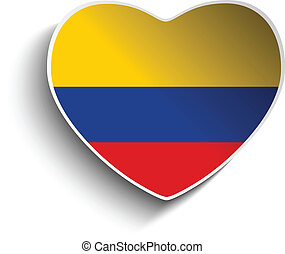 Colombia Flag Heart Paper Sticker