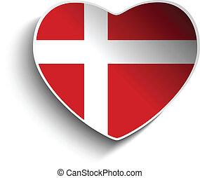 Denmark Flag Heart Paper Sticker
