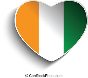 Ireland Flag Heart Paper Sticker