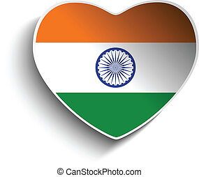 India Flag Heart Paper Sticker