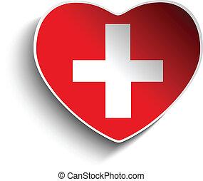 Switzerland Flag Heart Paper Sticker