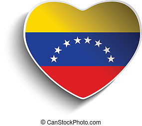 Venezuela Flag Heart Paper Sticker